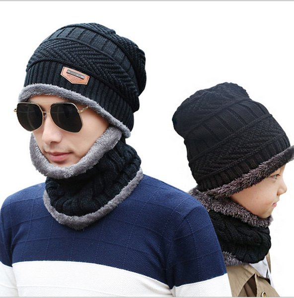 Beanie Hat Scarf Set Knit Hats Warm Thicken Fleece Winter Hat for Men Women Adult Kids Unisex Cotton Beanie Knitted Caps Christmas Gifts