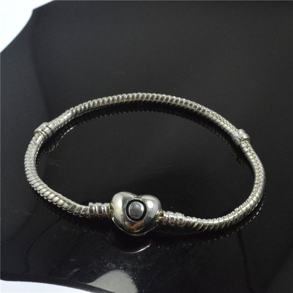 New 16-23cm Silver Plated Heart Shape Adult Children bangle Snake Chain Clasp Beads Padora Charm Bracelets Jewelry Free shipping