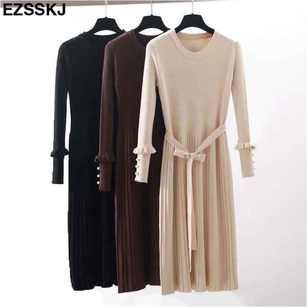 2018 manga Longa O-pescoço retas midi Camisola vestido mulheres outono inverno grosso vestido solto Feminino Jumper feminino vestido de malha D18102903