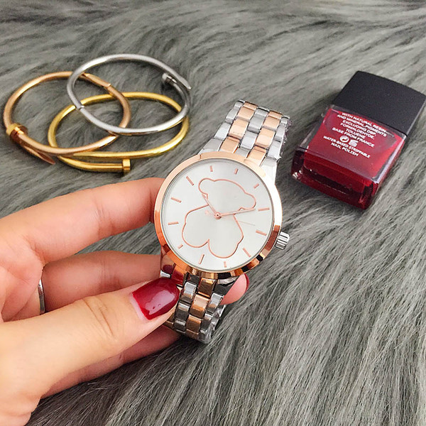 2017 nuova vendita di alta qualità marchio di moda di lusso donne puntatore in acciaio inox impermeabile orologi al quarzo di cristallo di modo signora diamante