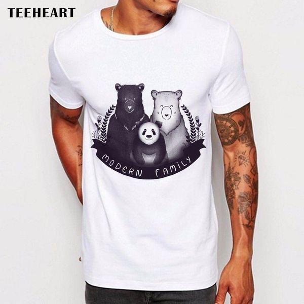 Bears Animals Black and White Panda Modern family Funny Joke Men T Shirt Tee