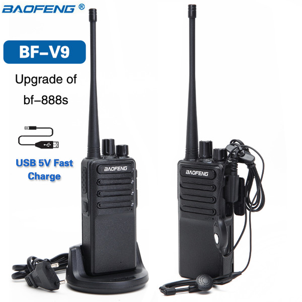 2pcs 2018 Baofeng BF-V9 USB 5V Fast Charge Two Way Radio 5W Portable Walkie Talkie UHF 400-470MHz Ham Radio Upgrade of BF-888S