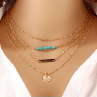 Europäische und amerikanische mehrschichtige Türkis Anhänger Halskette, metallische Farbe, Mode Schlüsselbein Kette