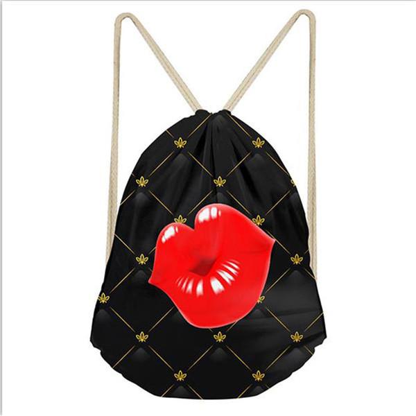 Image adaptée aux besoins du client Image de sac de cordon de bande dessinée d'adolescent de filles rouge imprimé cadeau Sacs d'école mignons enfants fille petit sac à dos de magasinage