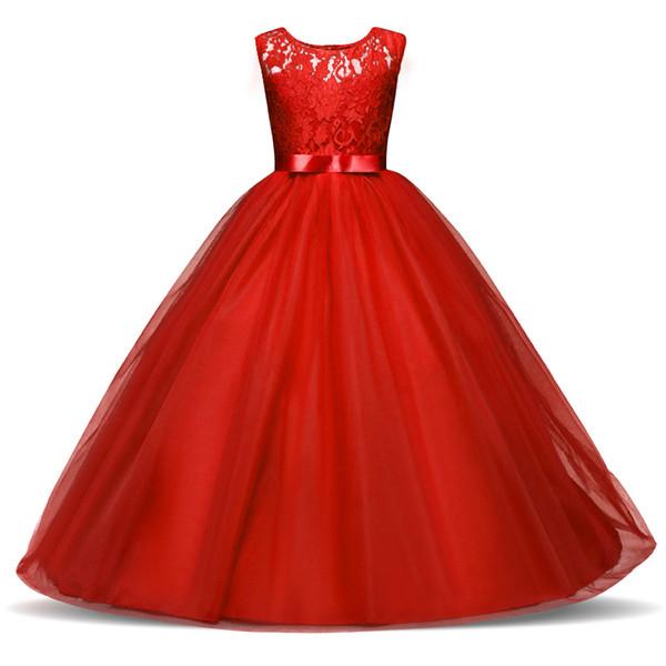 2018 neue Kinder Mädchen Hochzeit Blumenmädchen Kleid Prinzessin Party Pageant Abendkleid Ärmelloses Kleid 5-14 Jahre Mädchen Kleidung Y1892112