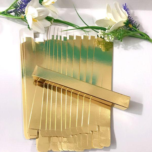 100 unids / lote 15x15x145mm oro / plata Eyeliner Eyebrow Pencil caja de embalaje caja de embalaje de la pluma
