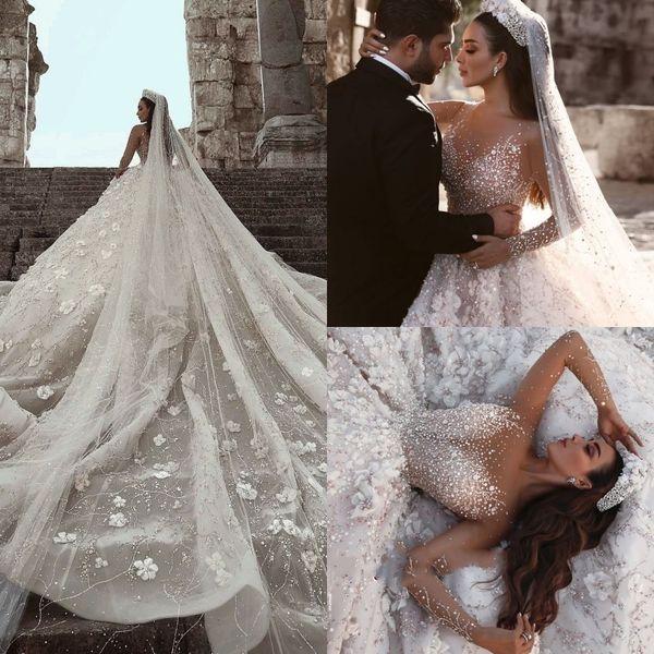 Vestido de fiesta de encaje de lujo Vestidos de novia Granos de lentejuelas Ilusión Manga larga Vestido de novia Capilla Tren Apliques de encaje 3D Vestido de novia