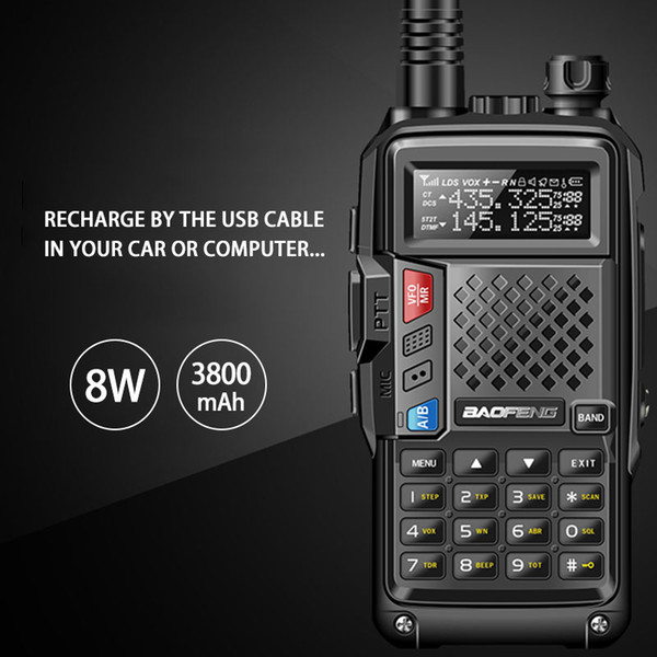 top popular 2018 BAOFENG BF-UVB3 PLUS 8W High Power UHF VHF Dual Band 10KM Long Range Thickenbattery Walkie Talkie Multiple Charging Mode 2021
