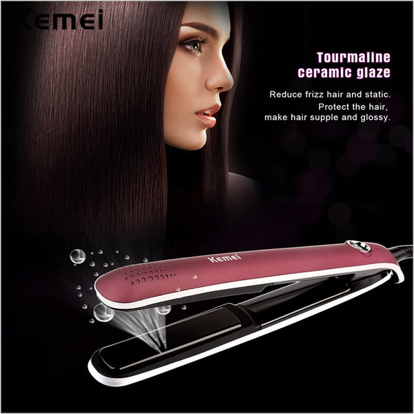 2016 Kemei New Professional Electric Hair Straightening Irons Flat Iron with Negative Ions and LCD Display Temperature Control
