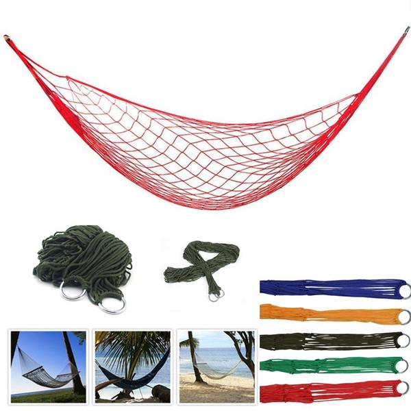 Taşınabilir Örgü Hamak Naylon Asılı Uyku Yatak Salıncak Açık Seyahat Kamp Yatağı Hangnet Hamak 5 renk IB637