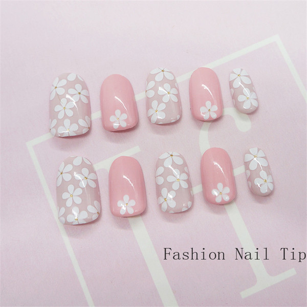 Press On Pink Flower False Nail With Designs Glitter Full Cover Fake
