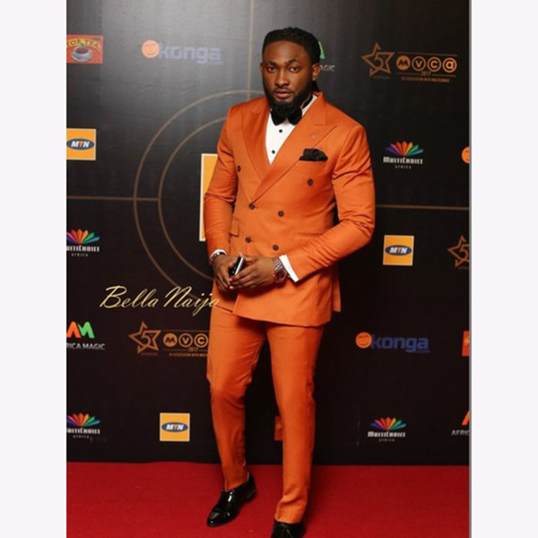 Elegant Double Breasted Men Suit 2017 Orange Custom Wedding Tuxedos Groom Suits For Men Business Men Office Wear (Jacket+Pants) S18101902
