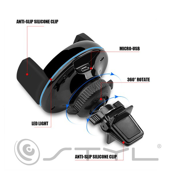 Qi Car Holder Wireless Charging Air Vent Mount Bracket Charger Universal for iPhone 8 X Samsung Galaxy Huawei Mobile Phone Standard Stand
