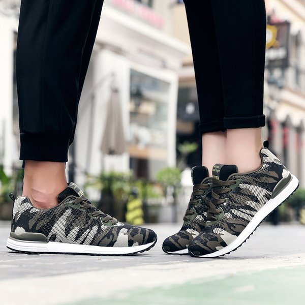 Army Green Sneakers Men Shoes 2018 Summer Breathable Mesh Camouflage Sports Running Shoes for Women Outdoor Army Big Size