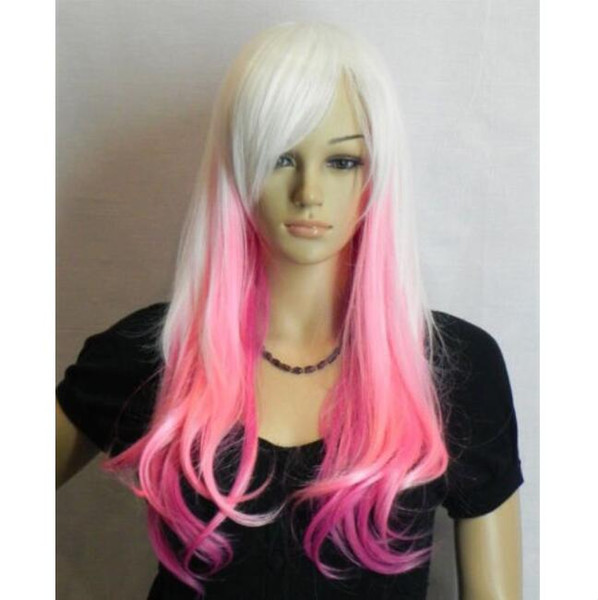 Long White Mix Pink Straight Cosplay Women Lady Cosplay Anime Hair Wig Wigs +Cap