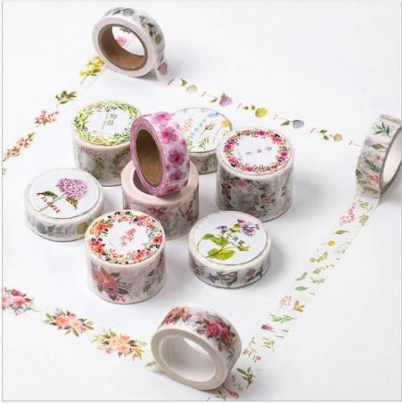 best selling 12 Styles Flower Edges Washi Tape Paper Cute Floral Printed Adhesive Tape DIY Decorative Border Scrapbooking Masking Tape 2016
