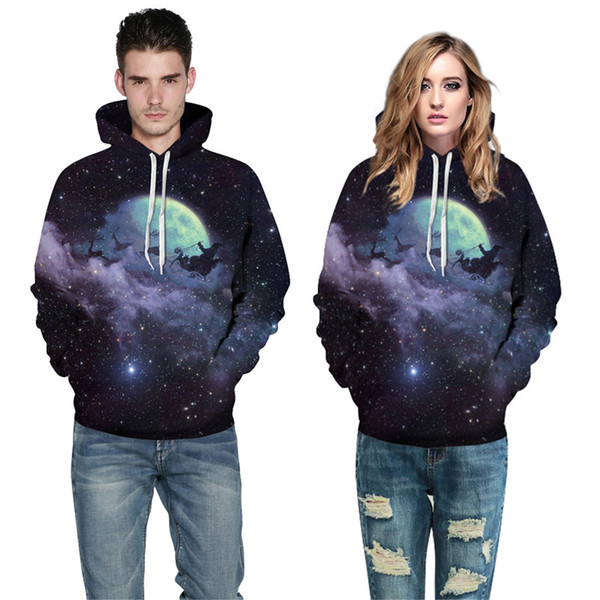 Unisex 3D Cool Casual Christmas Night Pullover Hoodie Polyester Men and Women Hot Sport Sweatshirt Free Shipping Size S-3XL