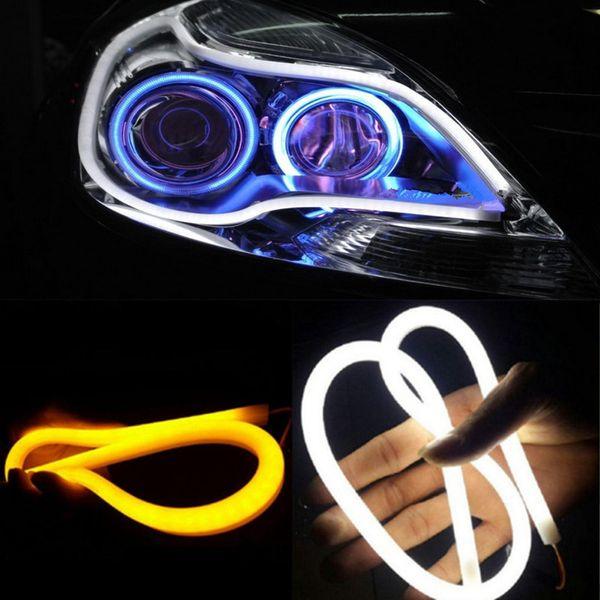 2 Teil / los 30 cm 45 cm 60 cm DRL Flexible LED Schlauch Strip Tagfahrlicht Blinker Angel Eyes Auto Styling Weiß / Gelb / Blau