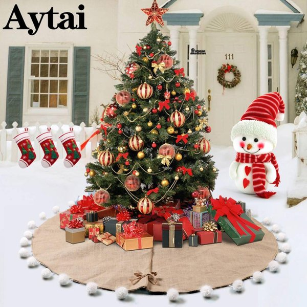 Indoor Christmas Decorations.Wholesale 122cm Rustic Burlap Pom Pom Christmas Tree Skirt Indoor Outdoor Indoor Xmas Tree Decoration Ornament Party Holiday Decor Christmas