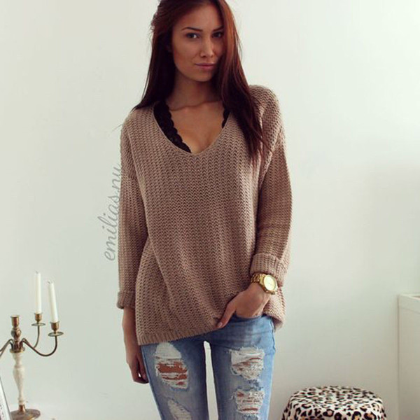 New Fashion Women Clothes Sweater Pullover Casual Acrylic Jumper Knitshirt Tops one pieces Ladies Fall Hollow V-Neck Loose