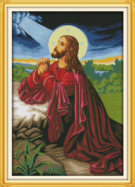 Jesus Christianity home decor paintings , Handmade Cross Stitch Embroidery Needlework sets counted print on canvas DMC 14CT /11CT
