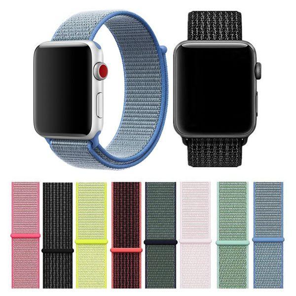 Apple 시계 용 스포츠 나일론 스트랩 iWatch 1 2 3 밴드 42mm 38mm 다채로운 나일론 루프 걸쇠 짠 손목 팔찌 벨트 밴드 팔찌
