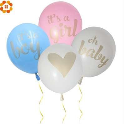 12PCS / Lot 12 pouces c'est une fille / garçon / oh bébé ballon imprimé avec des paillettes d'or brillant pour la maison fête d'anniversaire fête de naissance décoration