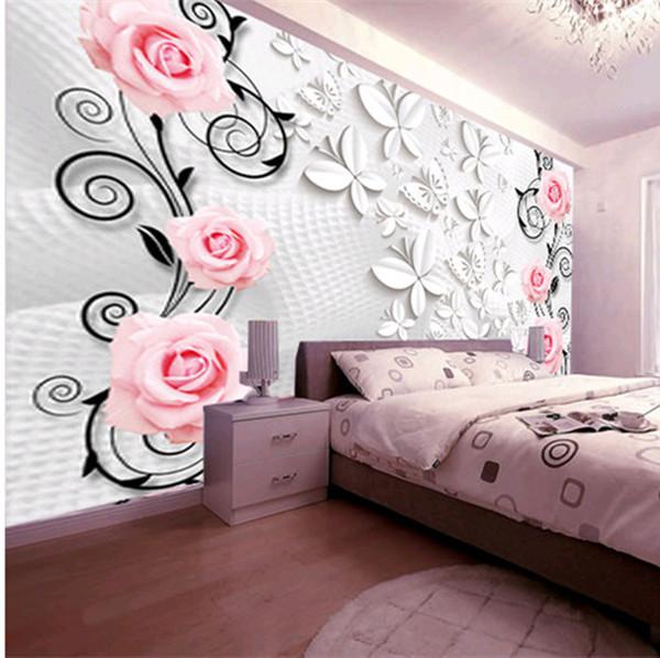 3D Stereo Große Wandbild Sofa Wohnzimmer Schlafzimmer TV Hintergrund Wand  Papier Rosa Rosen Schmetterling Persönlichkeit Wandbild