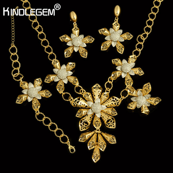 Kindlegem New Fashion Big African Beads Flower Jewelry Set Exquisite Silver Gold Color Women Nigerian Wedding Bridal Bijoux