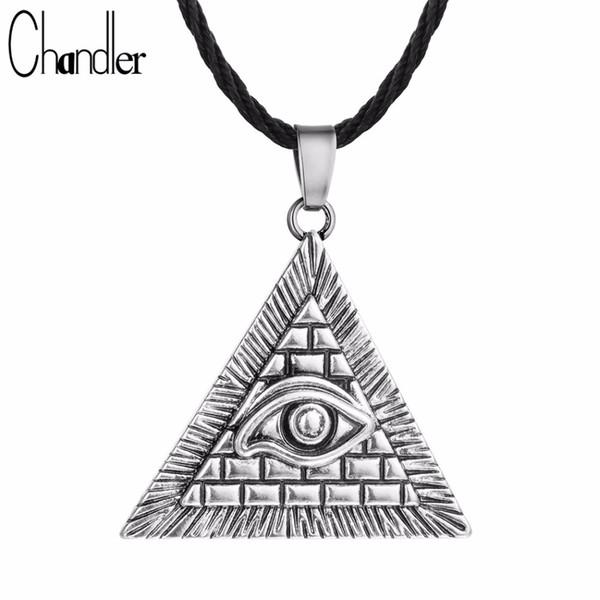 whole saleChandler Egyptian Egypt Pyramid All-Seeing Evil Eye Illuminati Antique Silver Charm Pendant Necklace For Men Boys Fashion Bijoux