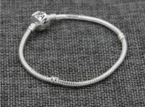 Europa popolare placcato argento portachiavi catene di serpente 3mm per braccialetti di fascini di personalità fai da te, stampo logo sulla fibbia per gioielli