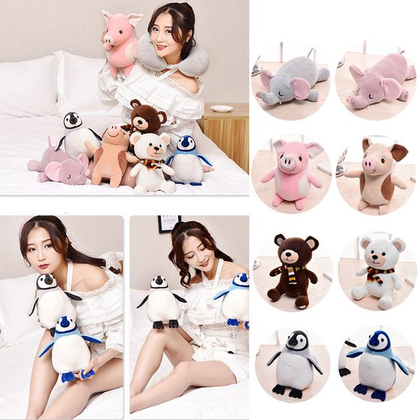 Creative Travel Pillow Neck U-shaped Pillow Transformation Into Catoon Animal Plush Doll Toy Multifunctional Rest
