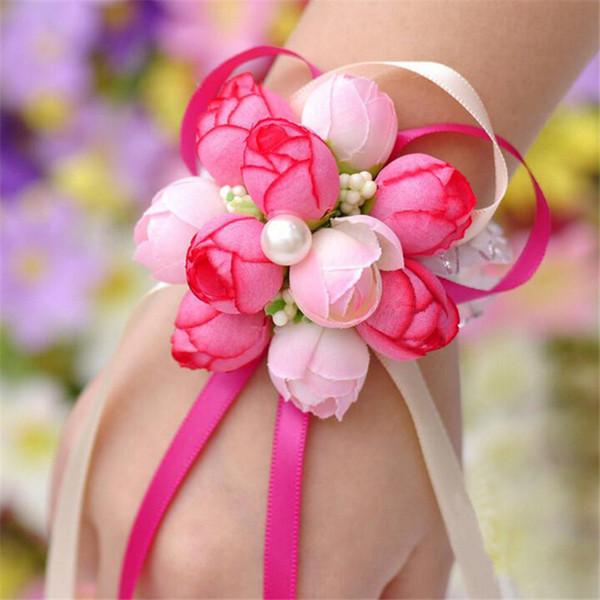Corea elegante muñeca flor Rose seda Corsage Corsage decoración de la mano perlas Pulsera pulsera de dama de honor clip de la boda ramo de la boda