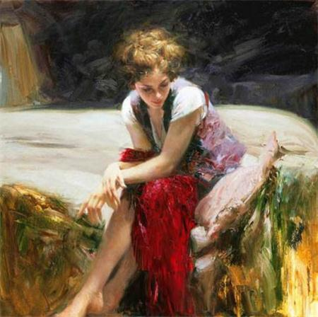 "Framed, Lots Wholesale, Free Shipping""Pino Daeni ""Hand-painted Portrait Art Oil Painting On Thick Canvas Wall Decoration Multi sizes , p25#"