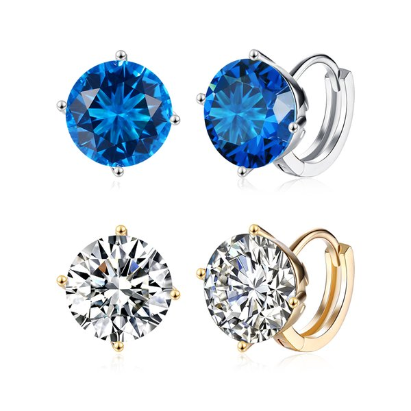 best selling Wholesale White Gold Plated & Champagne Gold Plated Round Clip Earrings with Zircons Woman Girl Fashion Party Jewelry Wedding Gifts