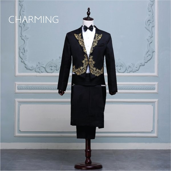 Mens wedding tuxedos For the magician mens tuxedo suit stage choir symphony conductor costume singer designer tuxedo