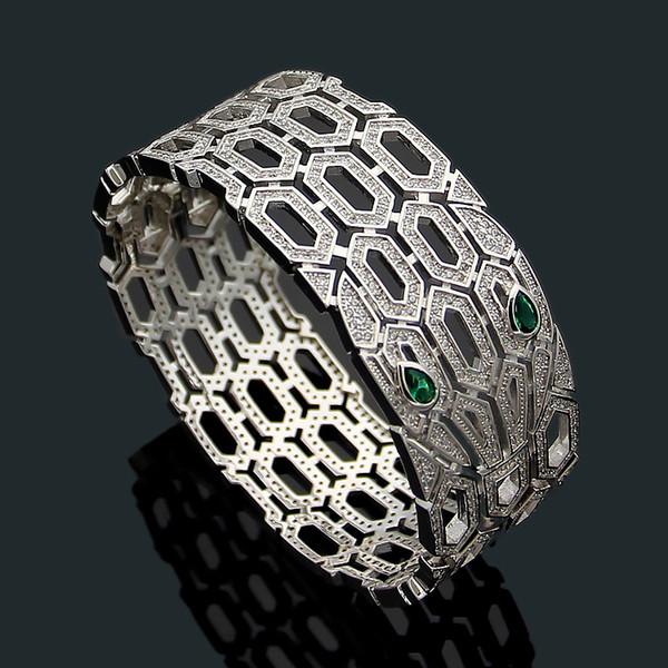 High-end design Asian gold jewelry B letter snake full crystal couple bracelets Women's wide version charm wedding jewelry bracelet 5.8cm