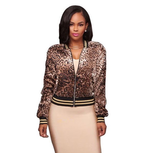 Womens Leopard Printed Bomber Jacket 2018 Spring Autumn New Arrival Long Sleeve Slim Zipper Jacket Femme Plus Size Coat jaquetas