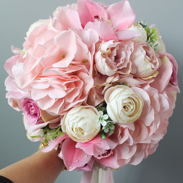High Quality Home Decoration Pink Wedding Bouquets For Bride Bridesmaid Ribbon Handle 2018 Artificial Rose Bridal Flowers