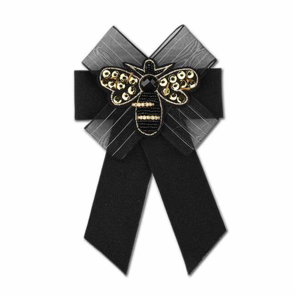 Wholesale Emboridery Bee Sequin Brooch Pins Handmade Fabric Bowknot Necktie Brooch Women Girl Suit Shirt Accessories Jewelry