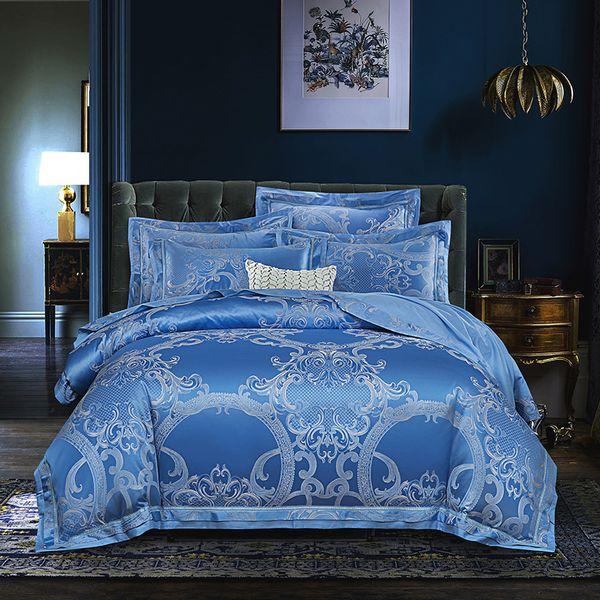 2018 Мода барокко синий постельное белье шелк хлопок смесь пододеяльник набор жаккард 4шт королева король постельные принадлежности лист наволочки