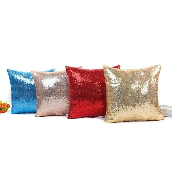 Solid color Sequin Pillowcases Sequin Fashionable Pillowcases Cushion Decorative Pillow Case Decorative Pillow Covers 8 Colors