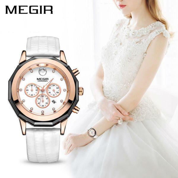 f6f6fa664cc Megir marca de luxo ladies watch cronógrafo moda couro relógio de pulso de  quartzo menina relógio