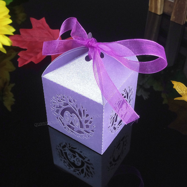 50pcs Classic Bird Style Wedding Candy Box Pearl Paper Ribbon Candy Box Gift Box Christmas Party Pack 5ZT32