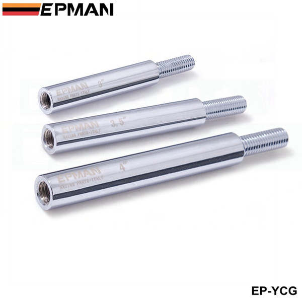 "best selling Tansky -- EPMAN M10x1.5  M10x1.25  M12x1.25 Shifter Shift Knob Extension 3""   3.5""   4"" Long extender Sliver EP-YCG"