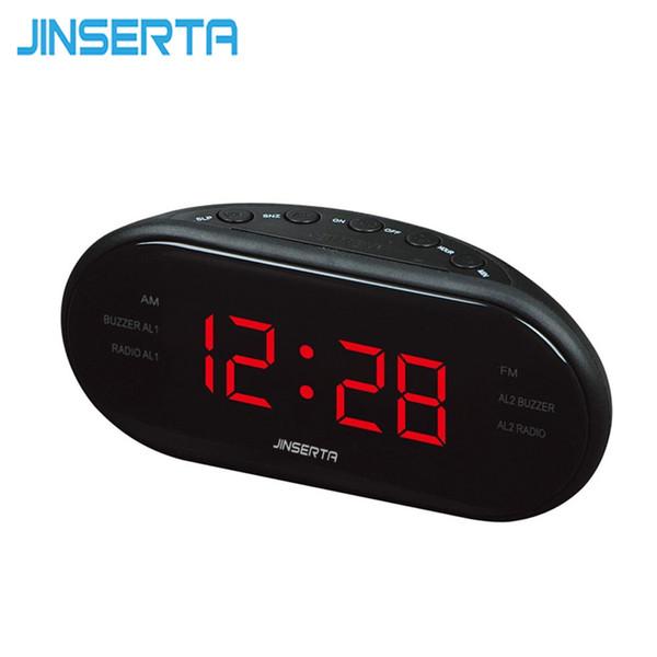 JINSERTA LED Radio digital con retroiluminación de luz roja azul Reloj despertador AM FM Radio electrónico de la casa
