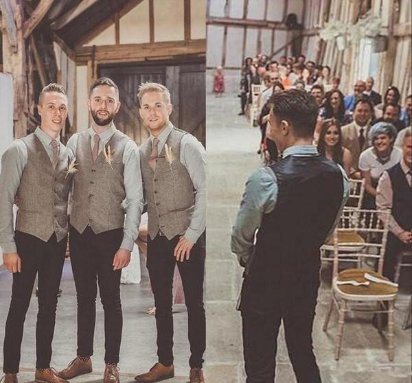 Wool Groom Wedding Tweed Vests Custom Made Formal Groom's Suit Vest Slim Fit Waistcoat For Men Groom Wear Plus Size