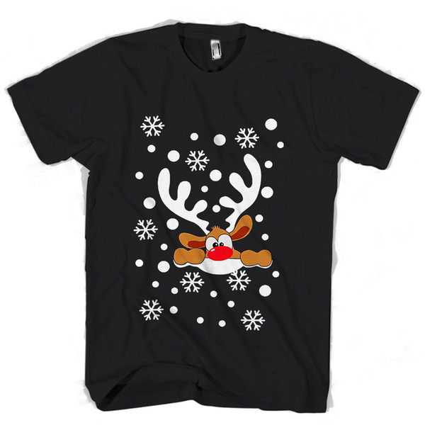 Christmas Big Nose Reindeer Snowflakes Snowfall Horn Man / Woman T-Shirt 2018 Male Short Sleeve Top Tee Free Shipping Summer Fashion