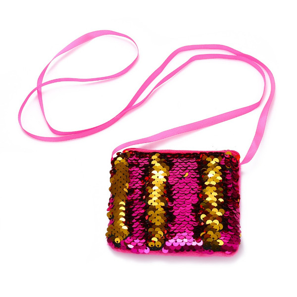 Mermaid Sequins Mini Crossbody Bags For Baby Girls Fashion Cute Glitter Messenger Handbag Kids Coin Purse Pocket Money Bag