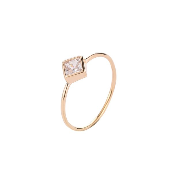 Simple female geometric zircon ring delicate square diamond ring personality single ring accessories